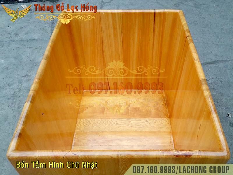 bán bồn tắm gỗ hình chữ nhật