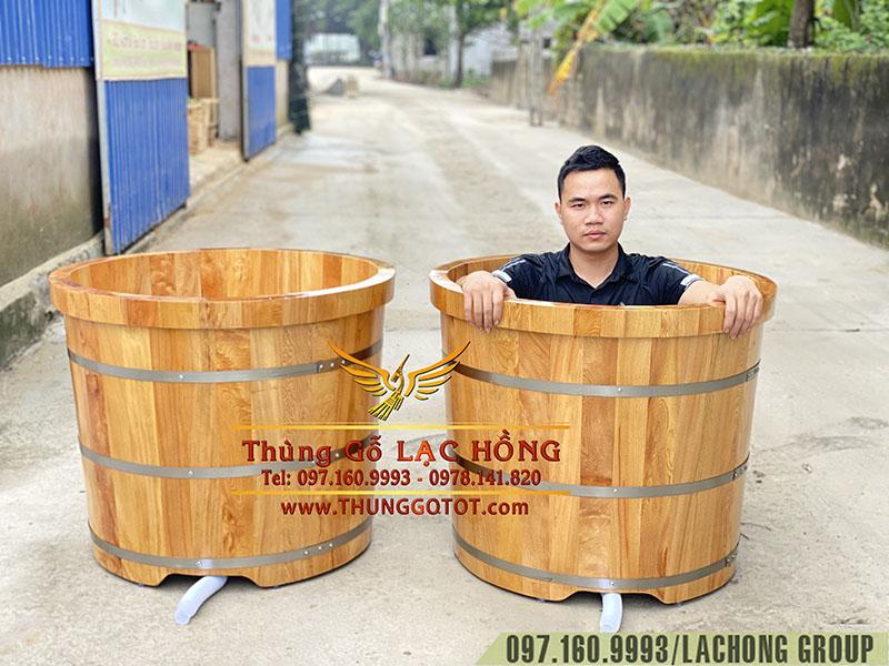 bồn tắm gỗ Pơ Mu bo viền dáng tròn