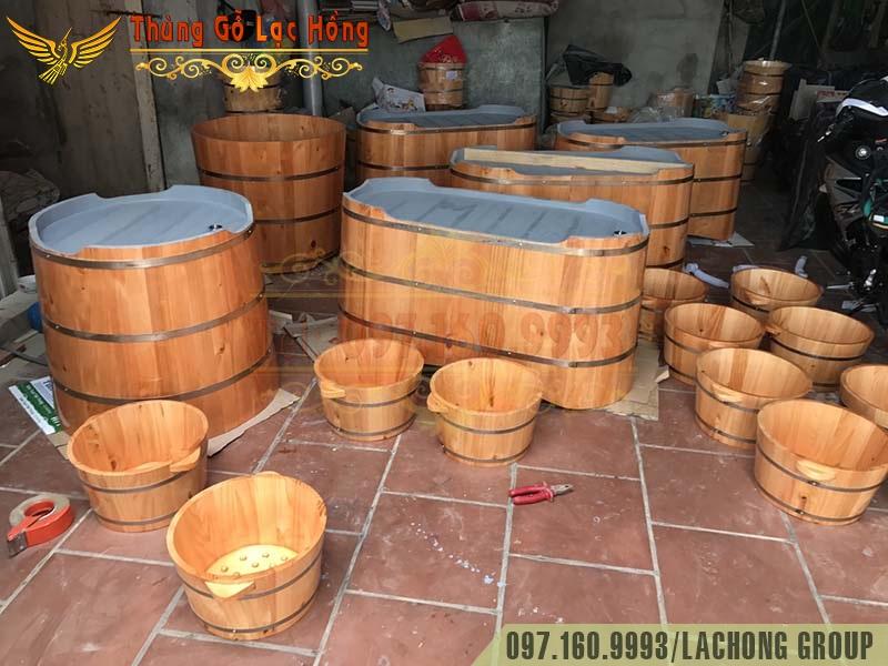 bồn tắm chậu gỗ