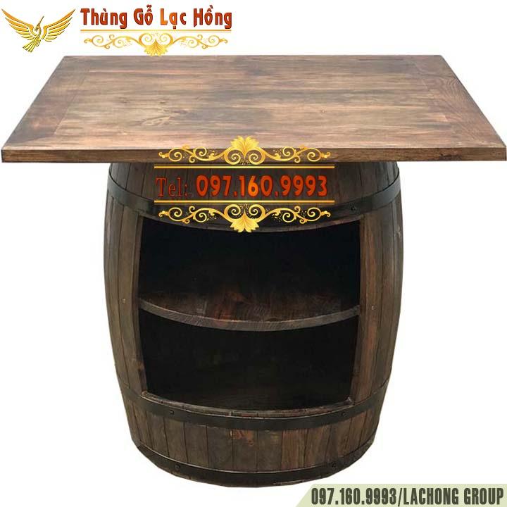 bàn cafe hình thùng rượu gỗ