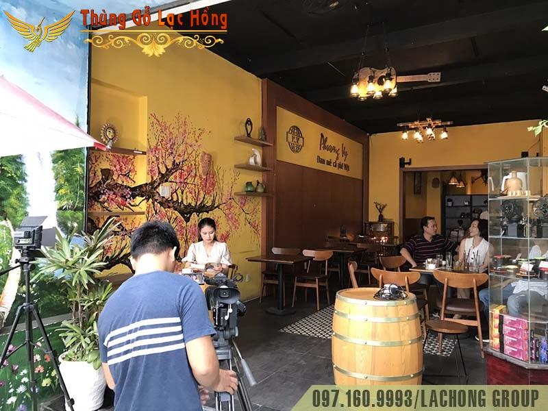 thùng rượu gỗ cafe